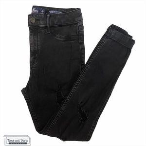 Hollister Ripped Cuffed Skinny Black Jeans